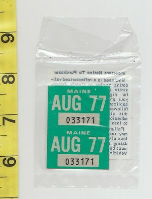 August 1977 Maine License Plate Renewal Stickers    Nos