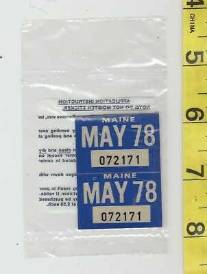 May 1978 Maine License Plate Renewal Stickers    Nos