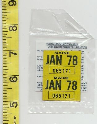 January 1978 Maine License Plate Renewal Stickers    Nos