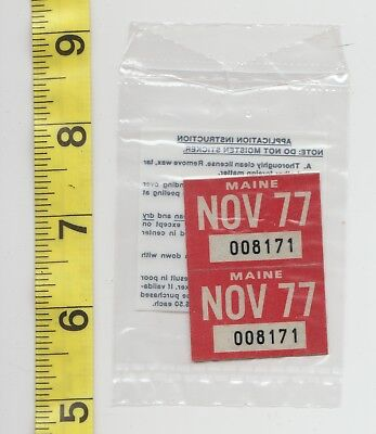 November 1977 Maine License Plate Renewal Stickers    Nos