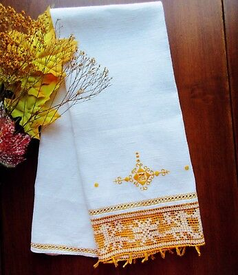 Antique Italian Hand-Embroidered White Linen Towel with Goldenrod Handmade Lace