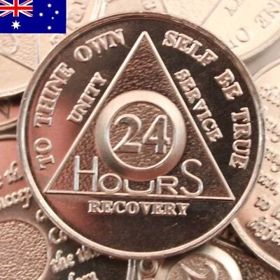 AA alcoholics anonymous silver 24 hours recovery sobriety coin token medallion