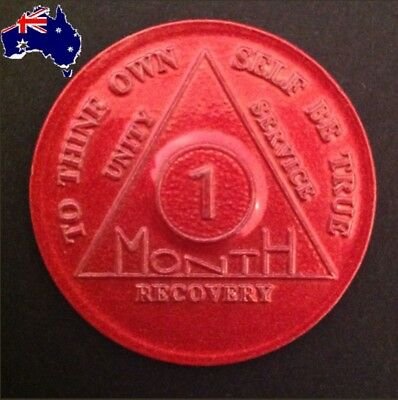 AA alcoholics anonymous red 1 month recovery sobriety coin token chip medallion