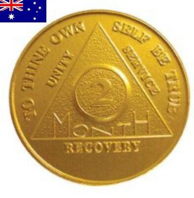 AA alcoholics anonymous 2 month recovery sobriety coin token chip medallion gift