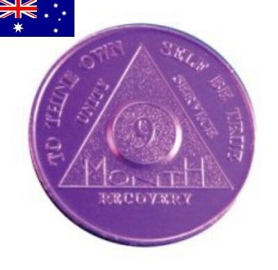 AA alcoholics anonymous 9 month recovery sobriety coin token chip medallion gift