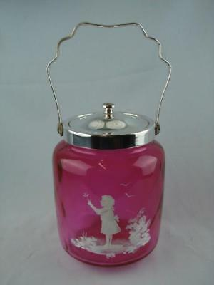 Repro Mary Gregory Style Cranberry Glass & Silver Plated Biscuit Barrel / Jar