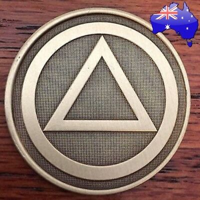 AA alcoholics anonymous bronze Triangle recovery sobriety coin token medallion
