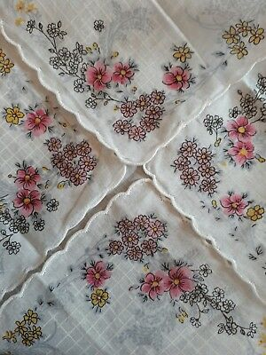 Beautiful Floral Vintage Handkerchief Lovely Floral Detail on Edges and Corners