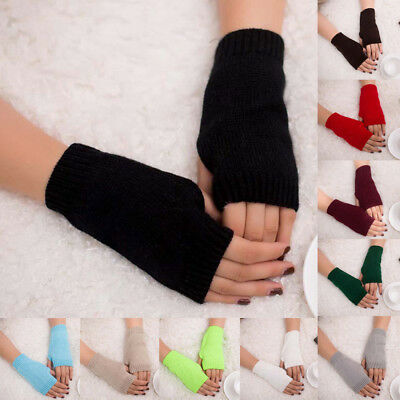 Mens Ladies Super Soft Warm Fine Knit Thermal Fingerless Winter Gloves Mittens