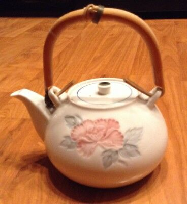 Japanese vintage white flowered ceramic teapot bamboo handle 5x4