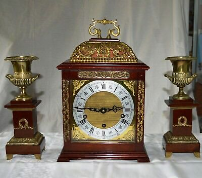 Antique Rapport London Mahogany Westminster Bracket Clock & Garnitures Working