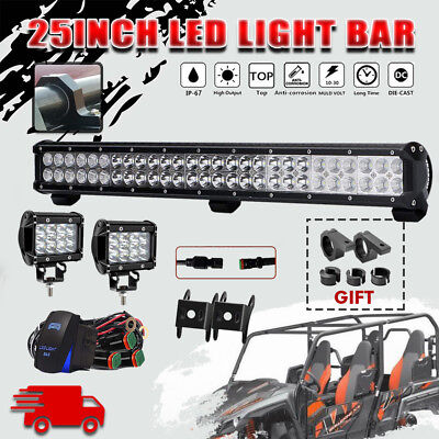 25INCH162W CREE LED Work Light Bar Spot Flood Combo Offroad for Yamaha Wolverine