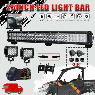 25INCH 162W CREE LED Work Light Bar Spot Flood Combo Offroad for Polaris General