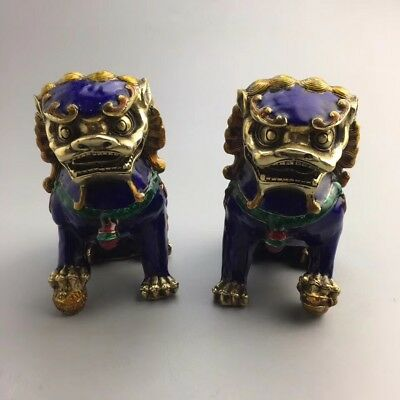 Excellent Rare China Collection Porcelain Cloisonne Lion Statue Figure