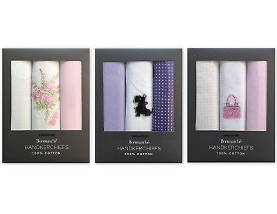 Womens Ladies 100% Cotton 3 Pack Handkerchiefs Embroidery Hankies Gift Box