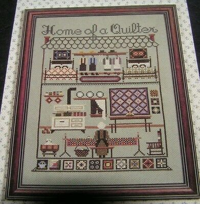 Cross Stitch Chart Home of a Quilter Amish Style Sampler Told In A Garden