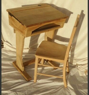 Vintage wooden school desk and chair.