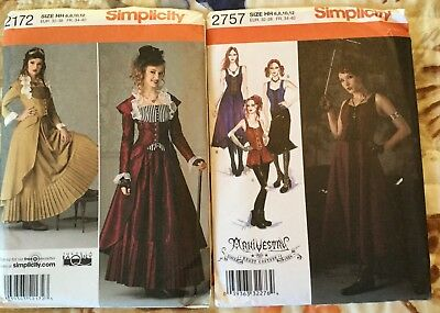 Simplicity 2172 Steampunk & 2757 Arkivestry Gothic Pattern Costumes 6-12 Uncut