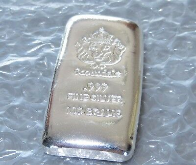 SCOTTSDALE CAST 100g GRAM 999 FINE SILVER BULLION BAR (NOT GOLD)