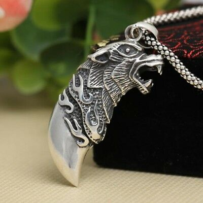 Real 925 Sterling Silver Pendant Wolf Tooth