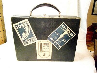 Vintage Chicago 1933 Worlds Fair Stickers on a small cardboard suitcase