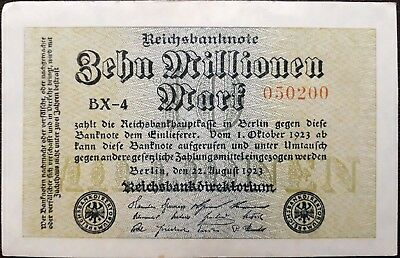 Weimar Germany banknote - 10 million mark - year 1923 - 5th issue- free shipping