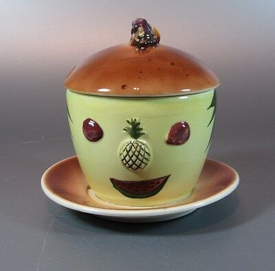 Vintage Mr. Yummy Jar anthropomorphic Pineapple Marmalade Jar w/ Lid Jam Jelly