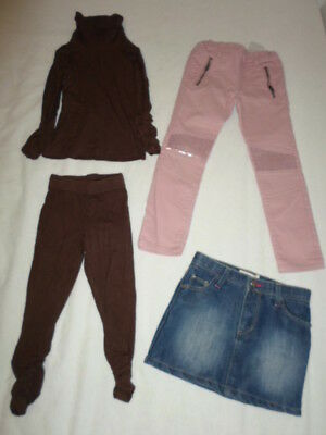 Lot Jupe Jean + Jean Rose + Ensemble Legging Fille 3 Ans Tb Etat D23
