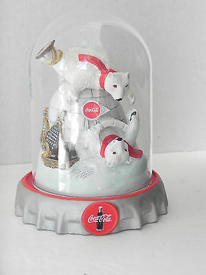 The Coca Cola Polar Bears Ice Cold Fun Limited Edition Sculpture in a Dome 1995