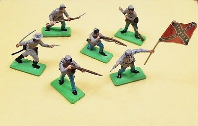 Vintage Britains Deetail ACW Confederates on Foot x 6