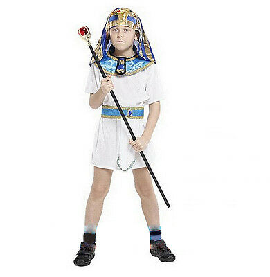New Boy's Ancient Egyptian Prince King Costume Cosplay Halloween Fancy Dress L