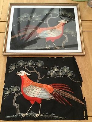 Vintage Antique Pair Of Japanese Embroidered Bird Pictures Silk