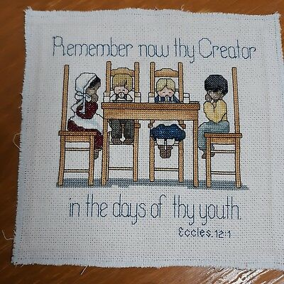 """Counted Cross Stitch Piece, Unframed 7 1/2"""" Sq Bible Verse Eccles 12:1"""
