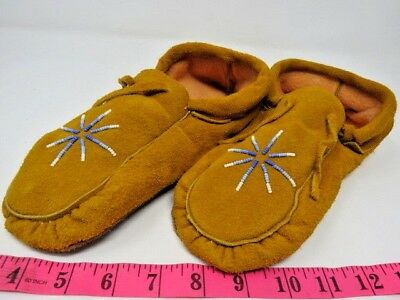 Beautiful Authentic Native American Moccasins With A Beaded 10 Inch, Double Sole