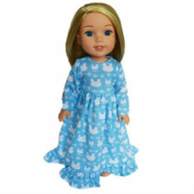 Blue Bunny Nightgown Fits 14 Inch American Girl Wellie Wishers Doll Clothes