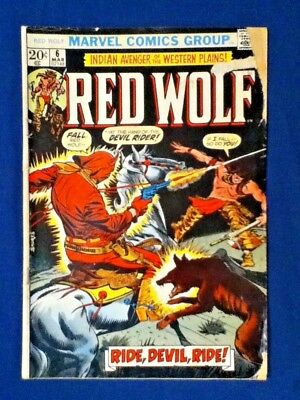 "Marvel RED WOLF #6 March 1973 "" NIGHT of The DEMON RIDER ! """
