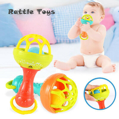 Newborn Rattles With Teether Educational Toys Funny Plastic Hand Shake Bell