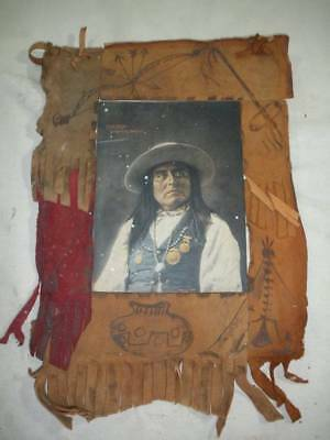 """1898 F.A. Rinehart Color Lithograph """"Chief Josh San Carlos""""- in Leather Frame"""