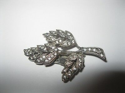 W@W Vintage Estate Brooch with Clip / Rhinestones and Silver Toned