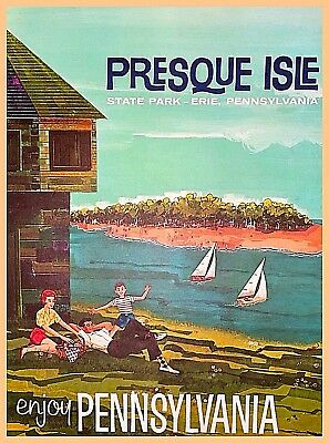 Presque Isle Lake Erie Pennsylvania Vintage Travel Advertisement Art Poster