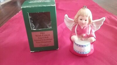 Vintage Goebel Angel Playing a Drum Bell 1984 Christmas Ornament West Germany