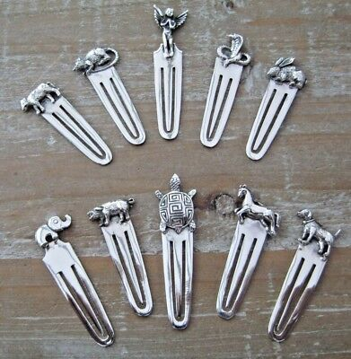 A Fabulous Wholesale Job Lot Of 10 Assorted Solid Silver 925 Animal Bookmarks --