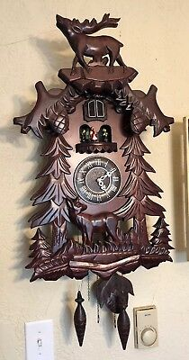 Kassel Wooden Black Forest Style Stag Deer W/Pinecones Wall Cuckoo Clock