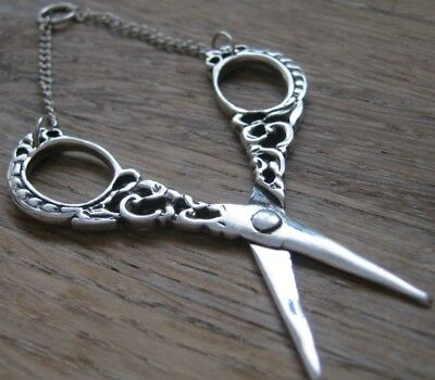 Beautiful Victorian Style Sterling Silver Sewing Thread Scissors For Chatelaine