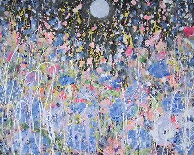 Moonlit Meadow: a large oil painting on canvas by Jenny Hare
