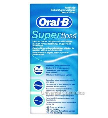 Oral B Super Floss Dental Braces Wide Spaces 50 Pre-Cut Pre Cut Strands MINT