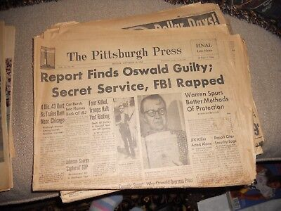 Historical Newspaper OSWALD GUILTY Pittsburgh Press