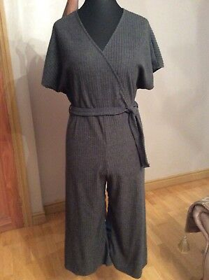 New Grey Rib Newlook Mock Wrap Detail Cropped Jumpsuit Size 16