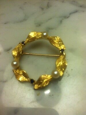 Estate 14k Gold Pearl Sapphire Wreath Brooch Pin