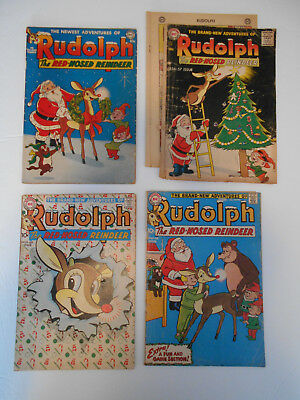 """Lot of 5 """"Rudolph The Red Nosed Reindeer"""" comics - 1951 (2), 1956, 1959, 1961"""